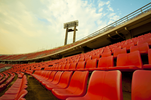 Geofoam material is stacked to create the foundation for stadium seating in many arenas
